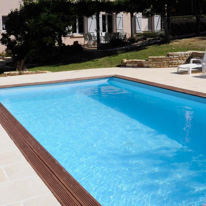 Piscine bois rectangulaire ANISE 9,18 m x 3,27 m x H. 1,46 m - Couleur liner - Bleu