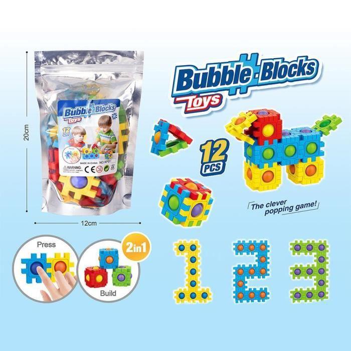 Blocs de Construction à bulles pop it Jouets Anti-Stress Sensoriels Creative jeu d'assemblage Cadeaux pour enfants 12 blocs