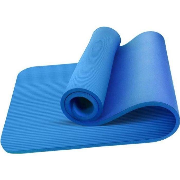 Tapis de Yoga Bleu épais antidérapant pour sport fitness, gym, musculation, pilates