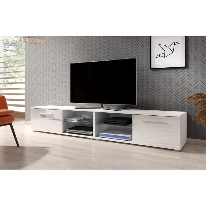 VIVALDI Meuble TV - MOON 2 DOUBLE - 200 cm - blanc mat / blanc brillant sans LED - style moderne