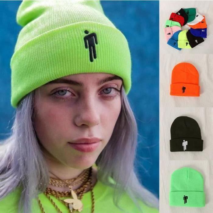BTH08671-Billie Eilish Unisexe Hip-hop Bonnet Décontracté Broderie Bonnet Pour Hiver Durable Réutilisable