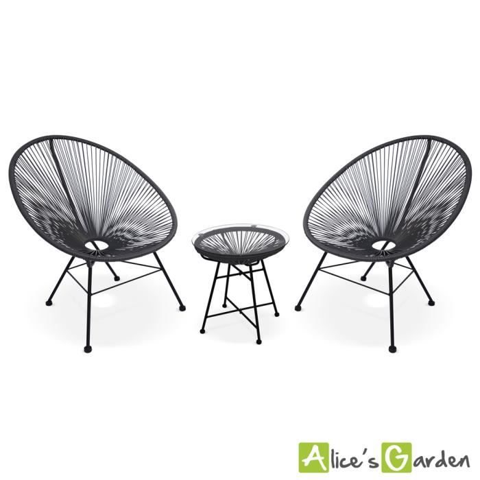 Ensemble de 2 fauteuils acapulco chaise oeuf design r tro for Jardin 7 17 acapulco
