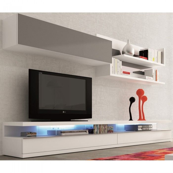 meuble tv mural blanc et gris luvenia couleur b achat vente meuble tv meuble tv mural blanc. Black Bedroom Furniture Sets. Home Design Ideas