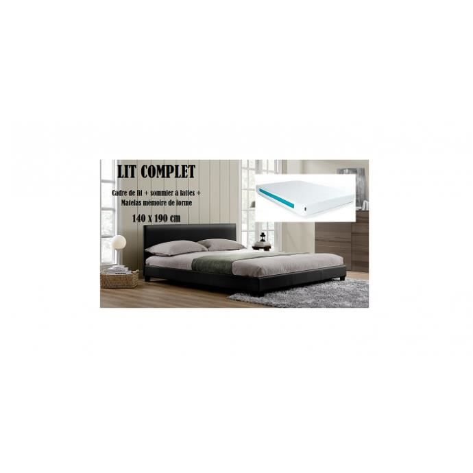 lit complet 140x190cm matelas m moire de forme achat vente lit complet lit complet matelas. Black Bedroom Furniture Sets. Home Design Ideas