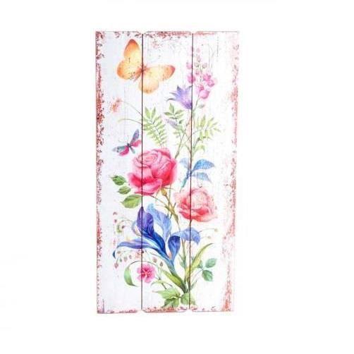 TABLEAU - TOILE Tableau bois Fleur et papillon - 60 x 30 cm
