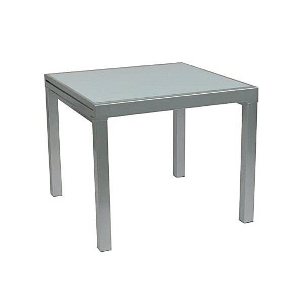 Table repas carr e 90 cm extensible val ry gris achat - Table extensible carree ...