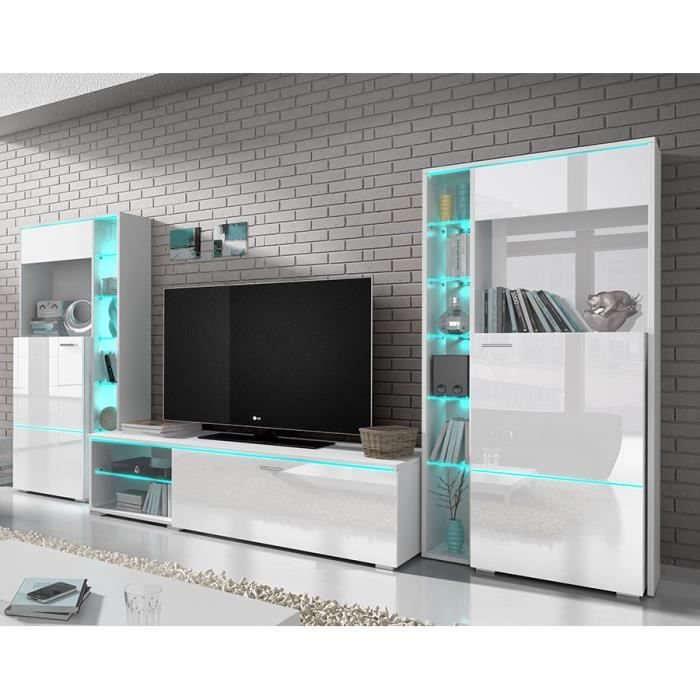 ensemble meuble tv blanc laqu design dolores av achat vente meuble tv ensemble meuble tv. Black Bedroom Furniture Sets. Home Design Ideas