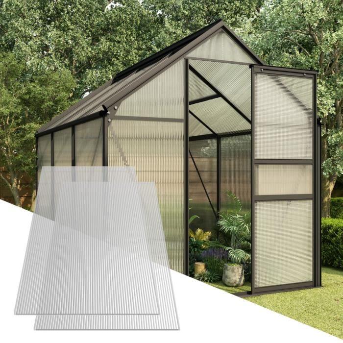 11 m/² 121 x 60.5 cm Feuilles /Épaisseur 4 mm Transparent /à Double Paroi Panneaux pour Serre de Jardin Lot de 15 Plaques en Polycarbonate R/ésistant aux UV