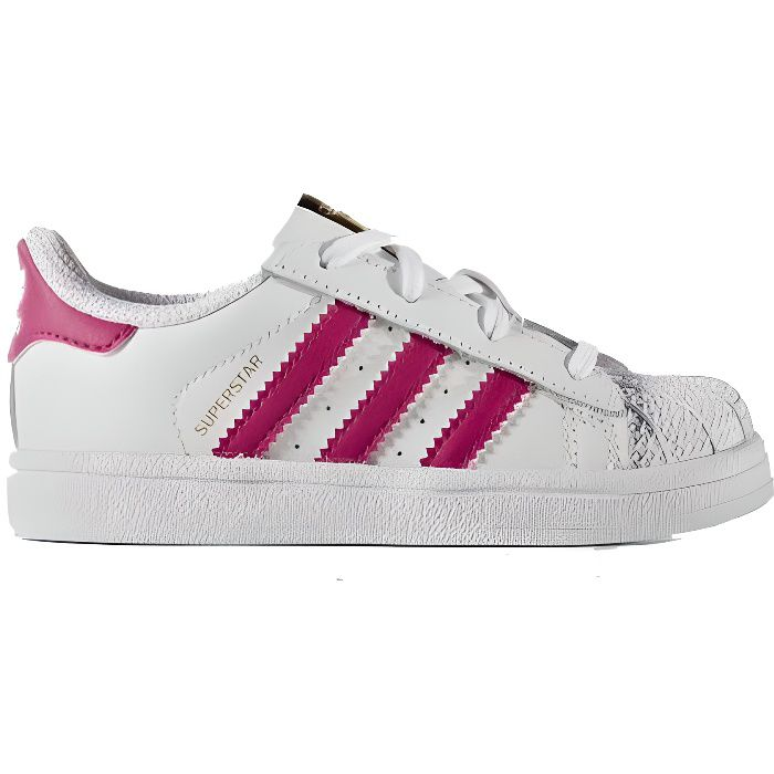 adidas originals baskets superstar b b fille blanc et rose achat vente basket cdiscount. Black Bedroom Furniture Sets. Home Design Ideas