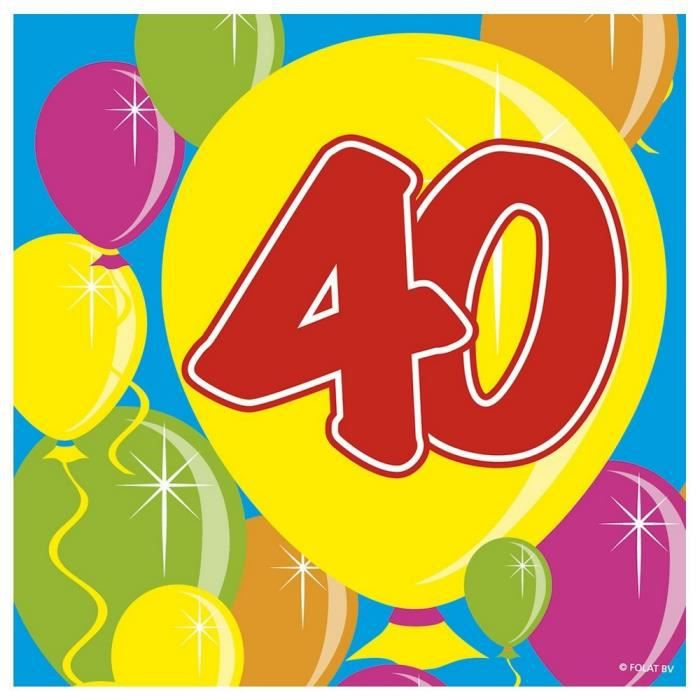 dcors de table lot de 20 serviettes ballons 40 ans - Meuble Pour Papier2020
