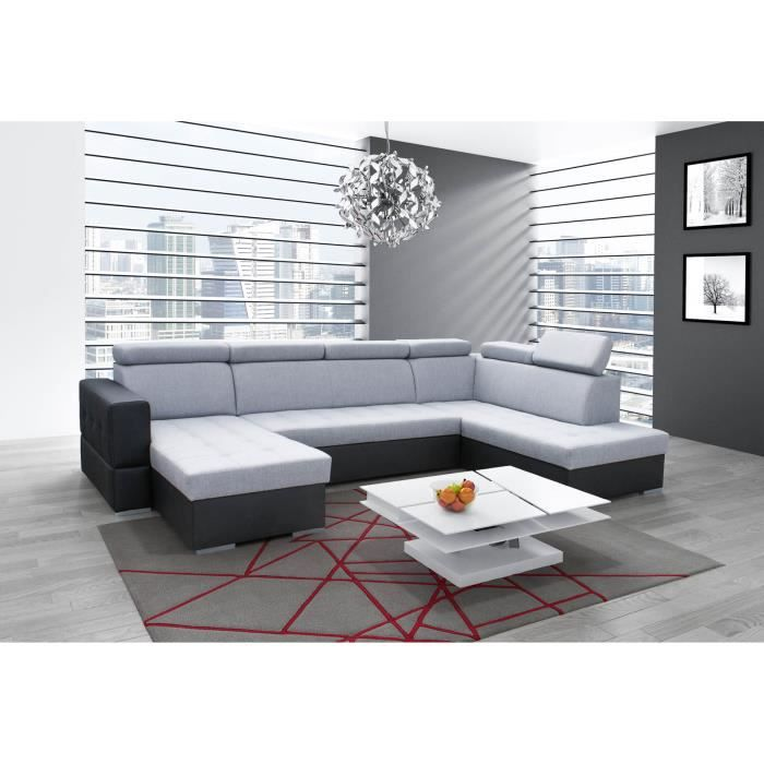 canap panoramique convertible softy xxl gris et noir achat vente canap sofa divan. Black Bedroom Furniture Sets. Home Design Ideas