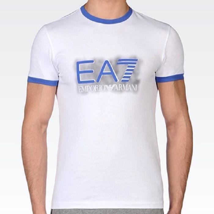 12Y 100/% coton avec manches courtes /& LOGO EA7 Enfants Garçons T-Shirt en Blanc