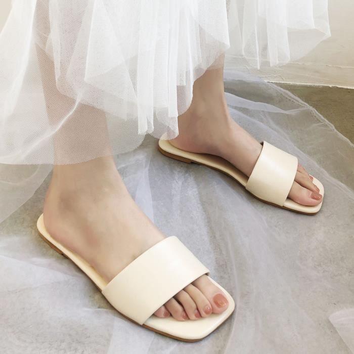 Mode féminine plat Grande Taille Désinvoltes Pantoufles Chaussures femme confortable sauvage_bub598
