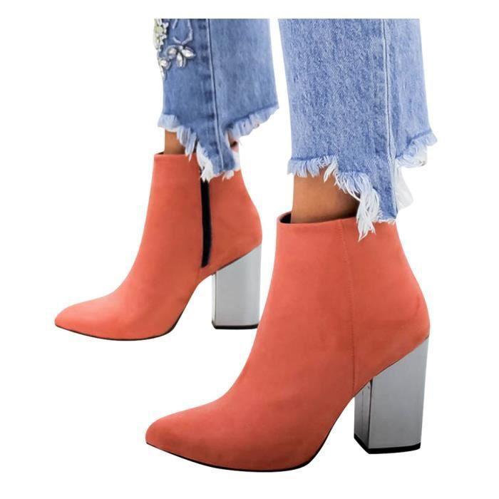 Femmes Talon haut Flock solide Bottines bout pointu Zipper Chaussures Casual Rose