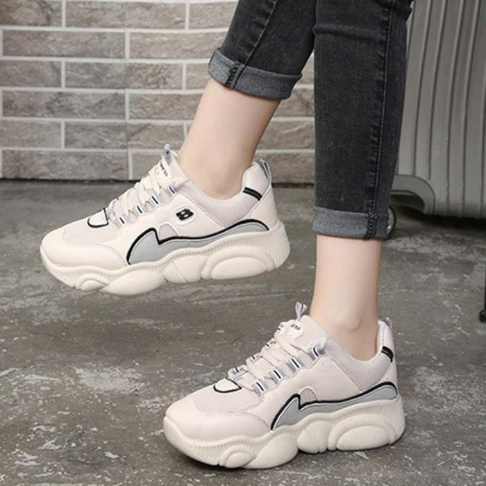 Mode pour femmes Casual Sport Chaussures de marche en plein air Med Lace Up Filles Chaussures Sneaker Beige