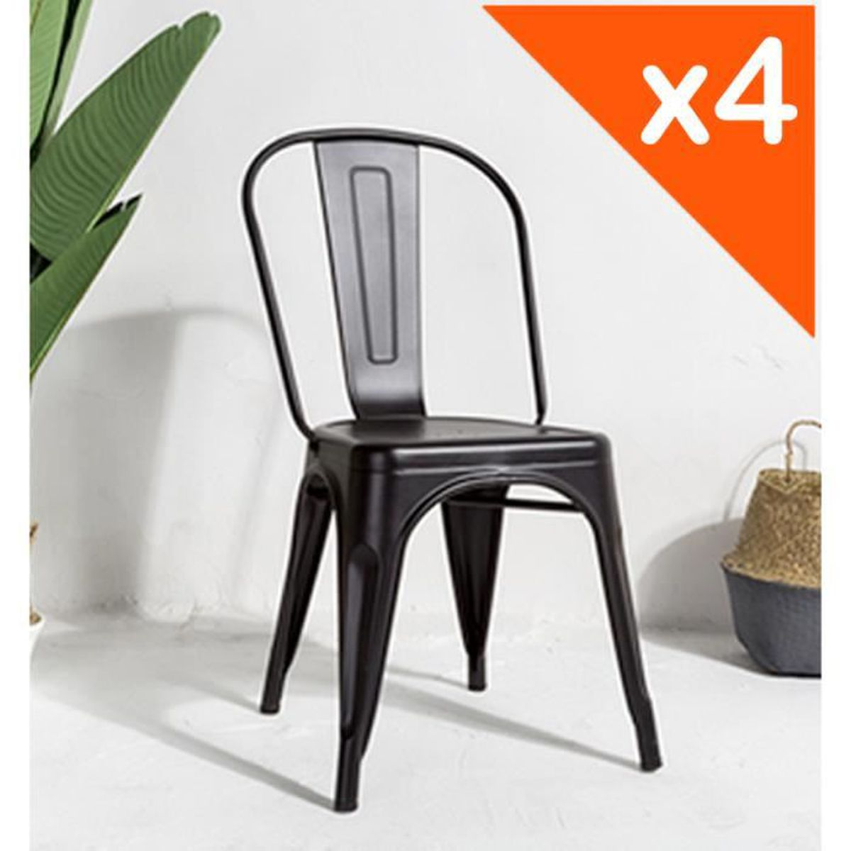 CHAISE KOSMI.FR Lot de 4 chaises FACTORY en métal noir ma