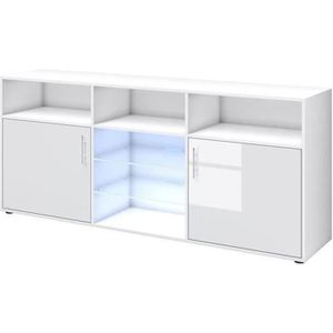 BUFFET - BAHUT  KORA Buffet bas avec LED contemporain blanc brilla