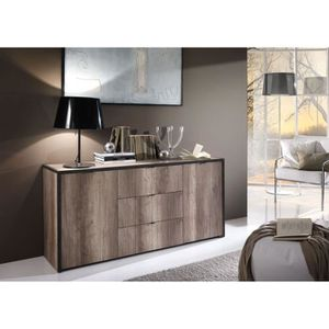buffet chene et gris achat vente buffet chene et gris pas cher cdiscount. Black Bedroom Furniture Sets. Home Design Ideas