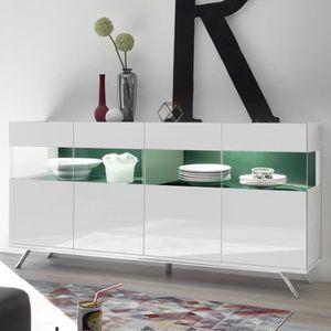 BUFFET - BAHUT  Enfilade 4 portes LED design blanc et vert CASTELL