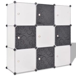 BOITE DE RANGEMENT Regisi cube de rangement 9 compartiments Noir-Blan