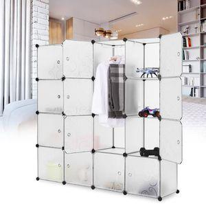 ARMOIRE DE CHAMBRE LANGRIA Rangement Modulaire 16 Cubes - Blanc