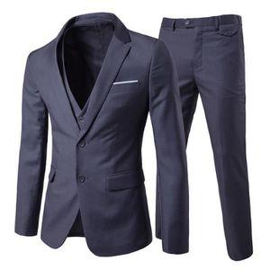 Homme vin Carreaux Bleu 3 Pièces Slim Fit Costume Mariage Bal Fête Rétro Vintage