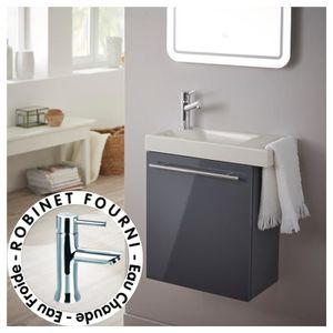 MEUBLE VASQUE - PLAN Pack lave-mains gris anthracite + Lave-mains en cé