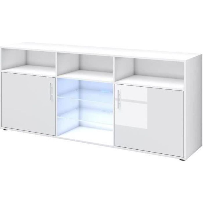 BUFFET - BAHUT  KORA Buffet bas avec LED contemporain blanc brilla