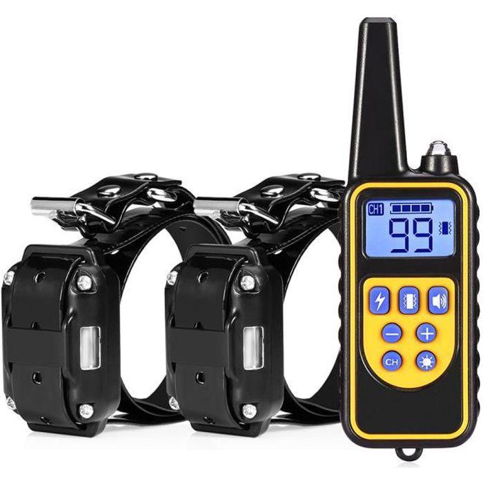 Collier électrique Collier de dressage pour entraînement de chien Etanche Anti-aboiement Télécommande avec 2 récepteurs 3 Modes