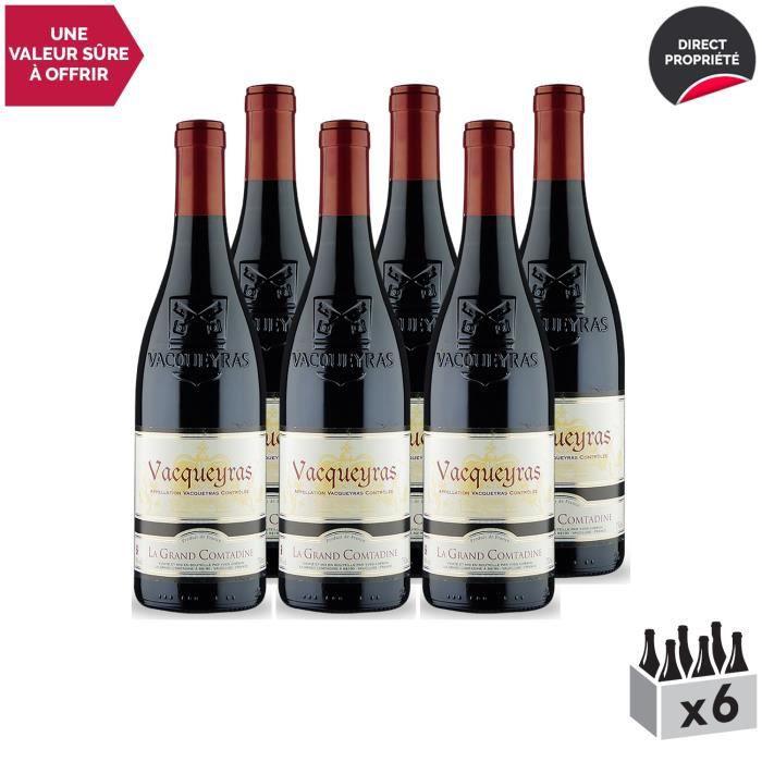Vacqueyras Rouge 2017 - Lot de 6x75cl - Domaine La Grand Comtadine - Vin AOC Rouge de la Vallée du Rhône - Cépages Syrah, Grenache