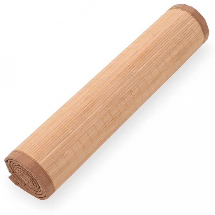 Tapis pilates et yoga Tapis de yoga Bambou 60 x 180 cm Marron