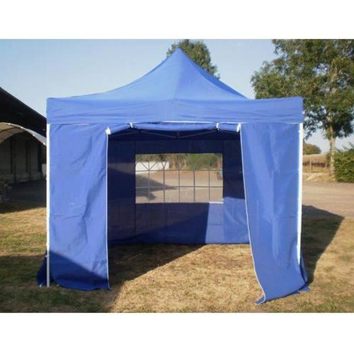 Barnum Pliant 3x3m Bleu + 4 côtés Tente Pliante