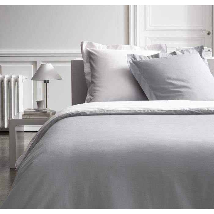 Parure de lit 240X260 2 personnes Percale bicolore blanc PREMIUM