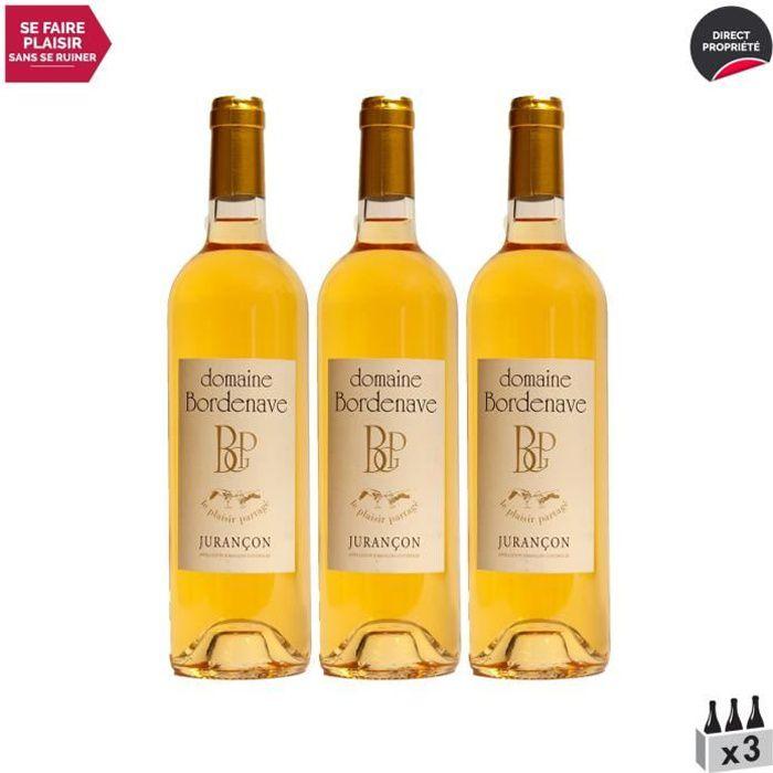 Jurançon Moelleux Le Plaisir Partagé Petit Manseng Blanc 2018 - Lot de 3x75cl - Domaine Bordenave - Vin Doux AOC Blanc du Sud-Ouest