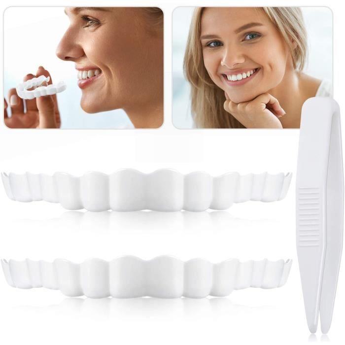 Fausses Dents Sourire Dentier,Prothèses Instantanées de Facettes,Dentaire Top Fausses Dents avec Mini Pinces pour Hommes ,2PCS