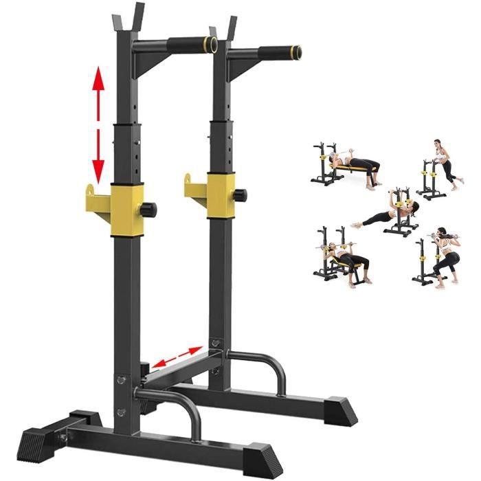 BANC DE MUSCULATION EEUK Rack Squat Musculation Traction, Rack Squat Multifonction,Rack Squat Dips,Hauteur R&eacuteglable Rack 412
