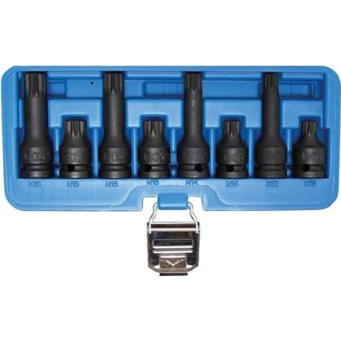 Jeu de douilles à embouts à choc 12,5 mm (1/2-) Denture multiple intérieure (pour XZN) 8 pièces