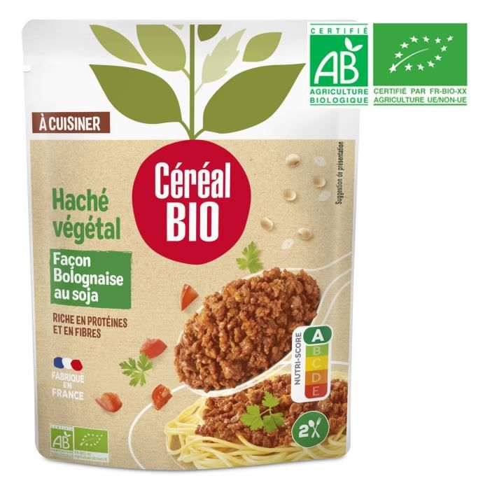 Haché végétal bolognaise au soja 250 g Cereal Bio