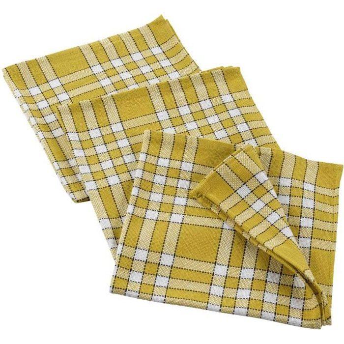 CDaffaires 3 serviettes de table 45 x 45 cm coton tisse traditio Jaune