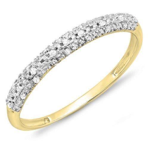 Bague Femme- Bague De Fiançaille 10 ct Or Jaune Diamant Rond Diamant Éternité Empilable 10 ct