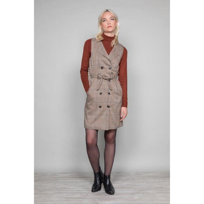 Robe tailleur sans manche PAULA - Couleur - Camel Check, Taille - L