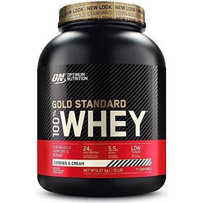 Optimum Nutrition Gold Standard 100% Whey Protéine en Poudre avec Whey Isolate, Proteines Musculation Prise de Masse, Cookies &