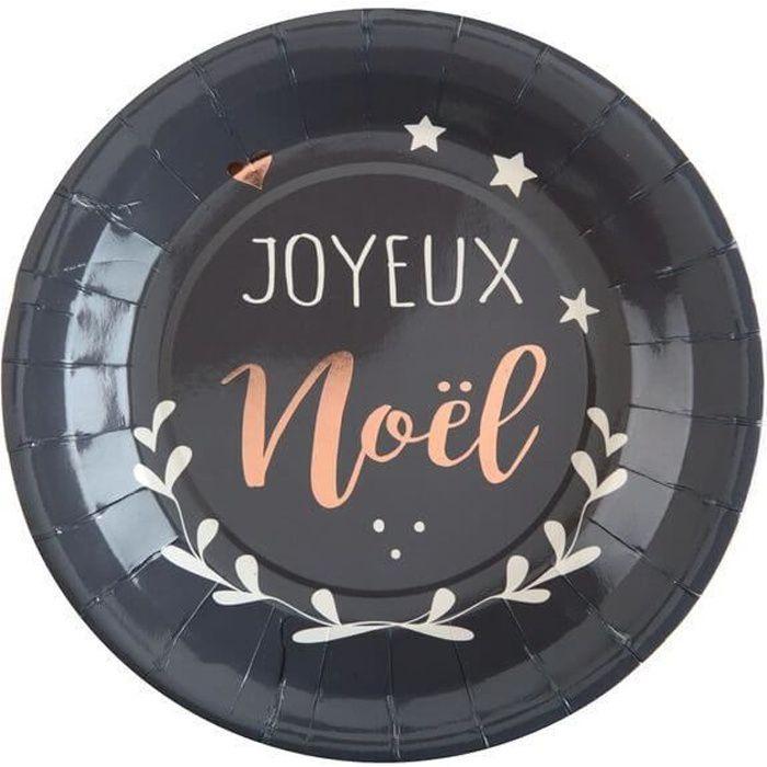 Assiette joyeux noël grise (x10) R/5926 Matière carton