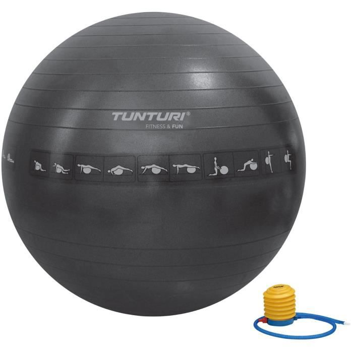TUNTURI Gym ball ballon de gym 65cm anti éclatement noir