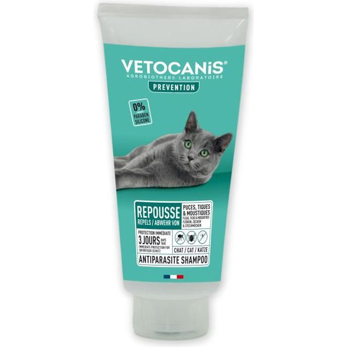 VETOCANIS Shampooing anti-puces et anti-tiques - Pour Chat - 300ml
