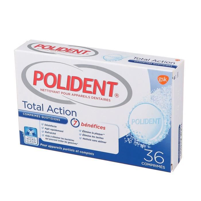 POLIDENT Nettoyant Total Action x36