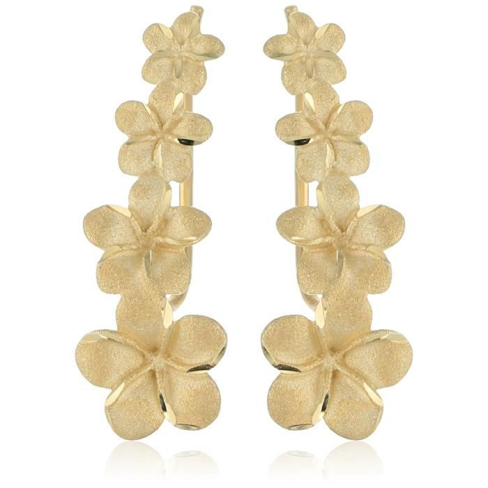 Craze 14k Yellow Gold Graduated Flower French Hook Dangle Earrings W1S8C