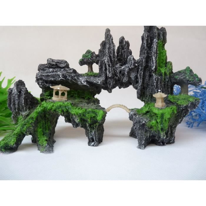 Aquarium d coration colline pont et des arbres ornements for Deco aquarium