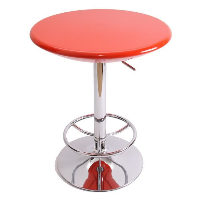 Table Haute De Bar Bistrot Avec Repose Pied Orange Achat Vente Table De Cuisine Table Haute