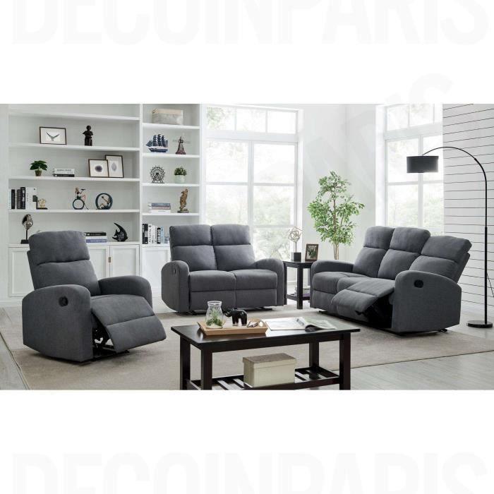 ensemble de canape relax 3 2 1 places en tissu gri